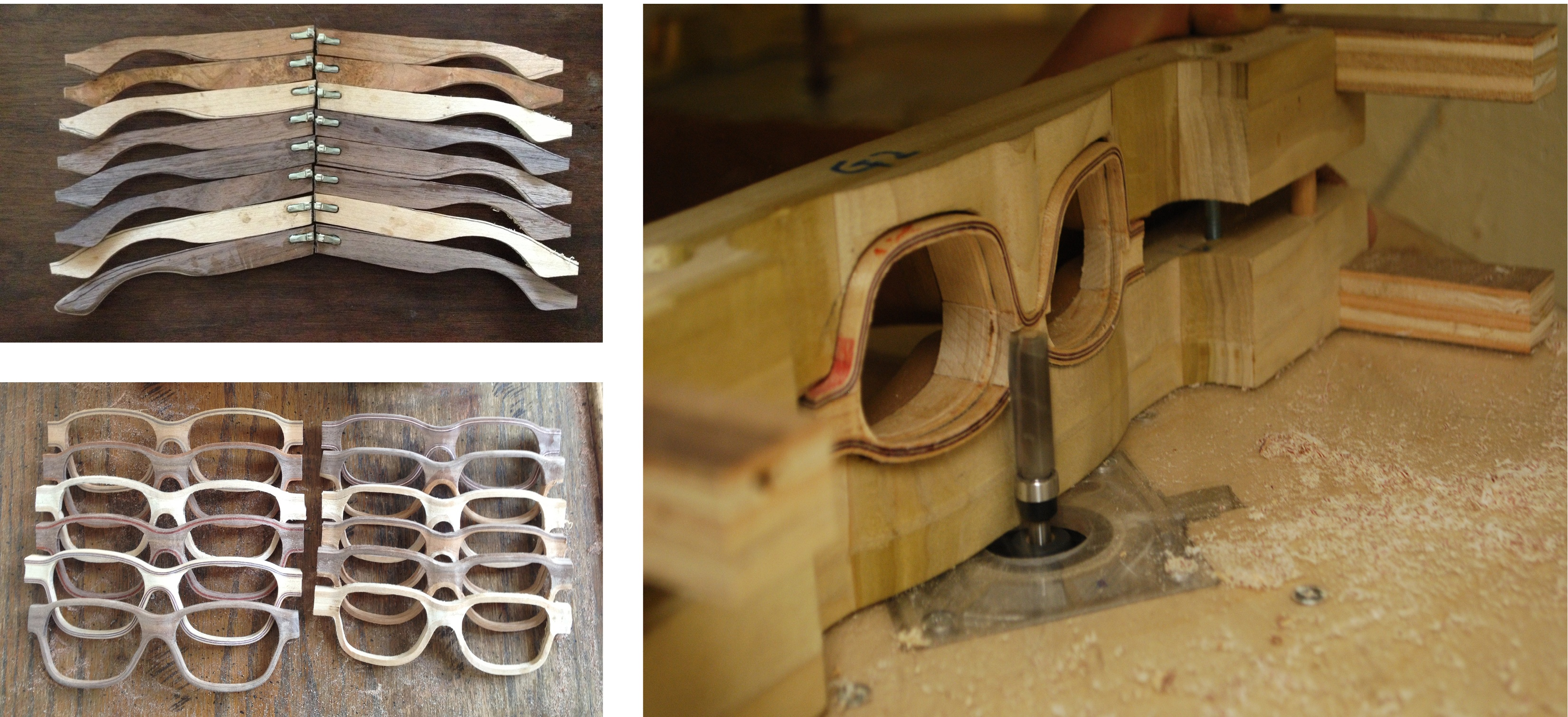 After veneer is bent into blanks a series of jigs are used to cut them into shape