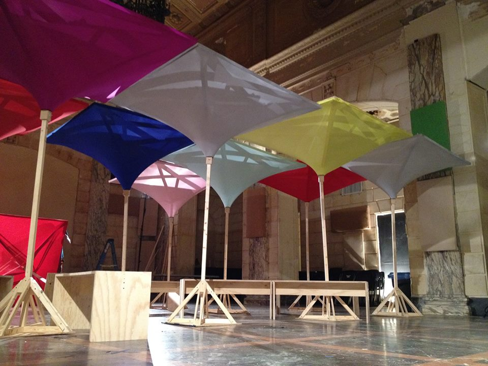 These stretched fabric canopies were made for a temporary exhibit and discussion about public space with the Van Alen Institute.