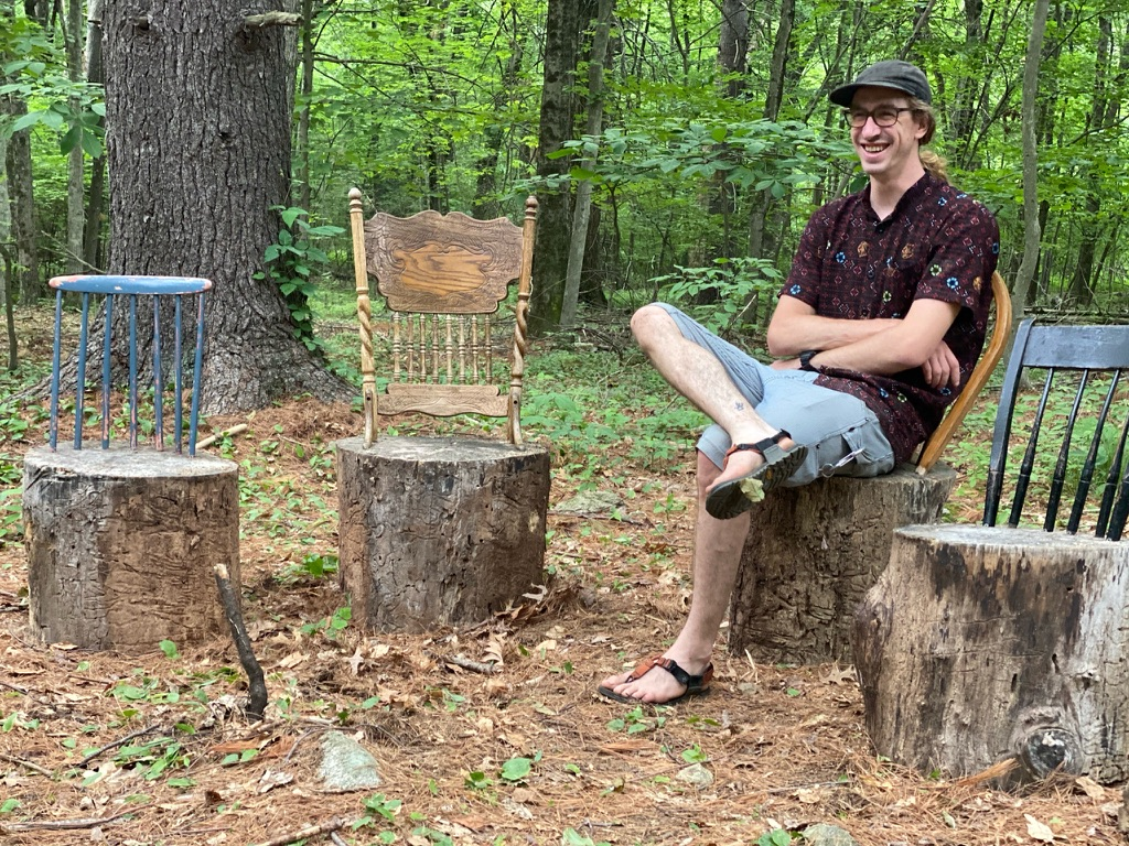 Four temporary chairs were installed in Beals Preserve as part of the 2021 Art on the Trails. The theme of the show was \'Mending\'.