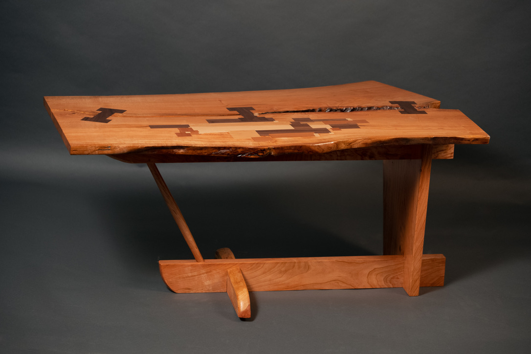 The Homage table is inspired by some of the furniture designer greats. Specifically George Nakashima and Siosi Design.