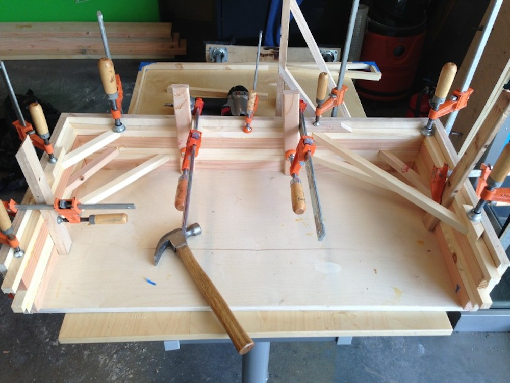 One of my main contributions to the bench project was to design a better system of fabrication for the bench. This is the glue-up jig for one version of the benches.