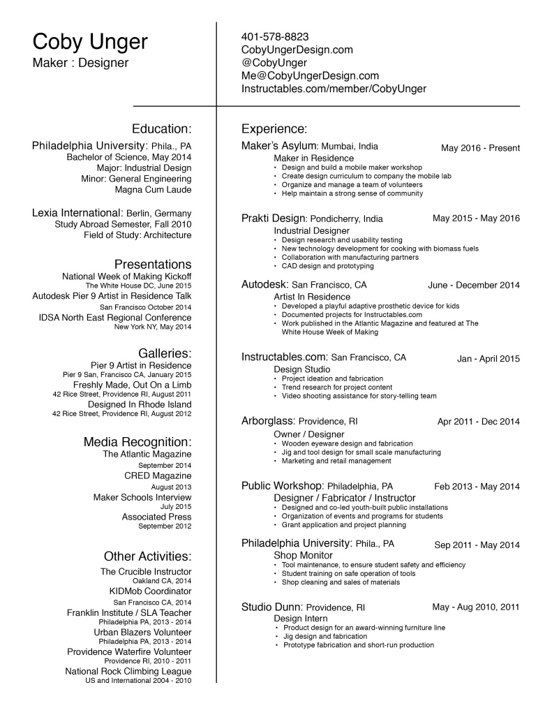Coby Unger Resume