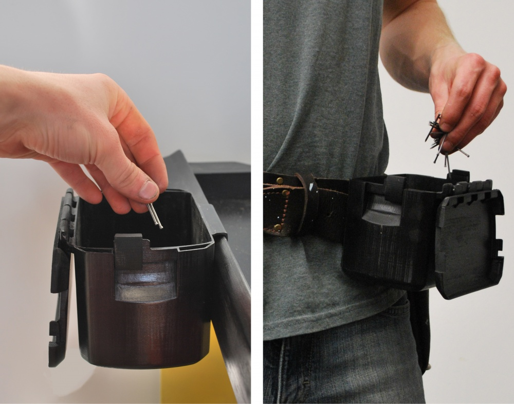 The faster cup attaches on the side of the cart, inside a crate or on a tool belt for easy access. The lid can be locked open or closed.