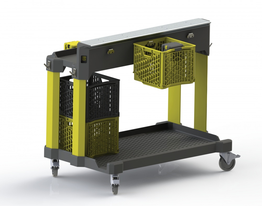 The system consists of a rolling cart, a crate with more comfortable handles, and a fasteners cup with hinged lid.