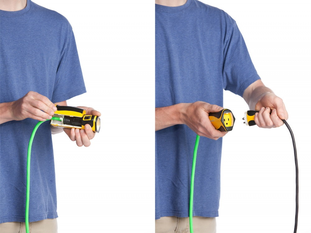 OSHA regulations are very strict about extension cords. CordLock is a system designed to temporarily lock cords to one another in order to better align with OSHA regulations. Included in the system is an adapter for existing cords that allows them to fit with other components in the system.
