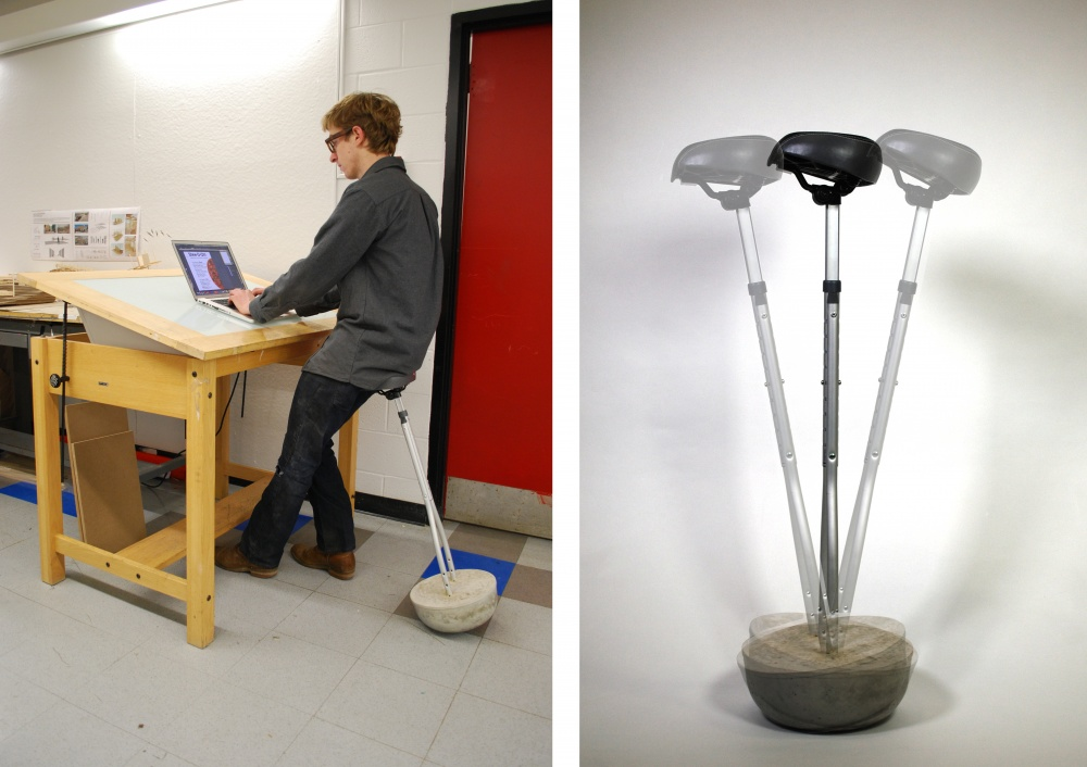 Built form recycled parts and cast concrete this adjustable height standing stool moves with you while you work.